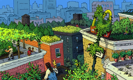 """The illustration depicts a neighborhood seen from above, where all the roofs of buildings have been transformed into community gardens. The captioning of the image reads """"When we say 'food apartheid,' the real conversation can begin."""""""
