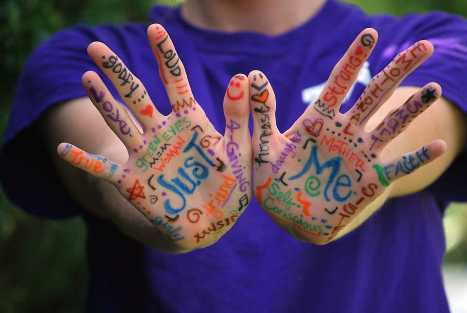 Just Me image of a person holing out their palms on which various words depicting how they identify are written