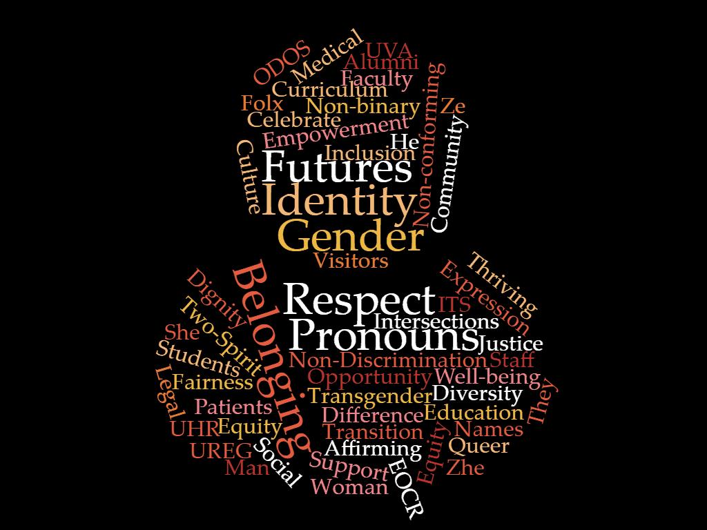 Word cloud depicting gender diversity