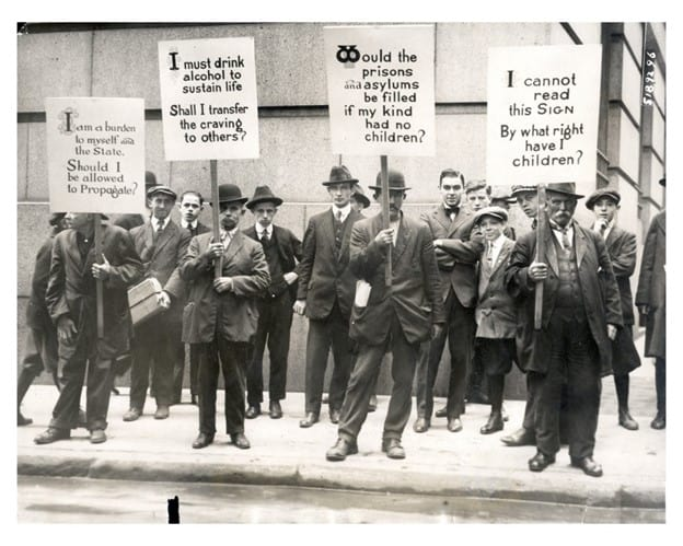 A photograph depicting A eugenics demonstration on Wall Street, 1915.
