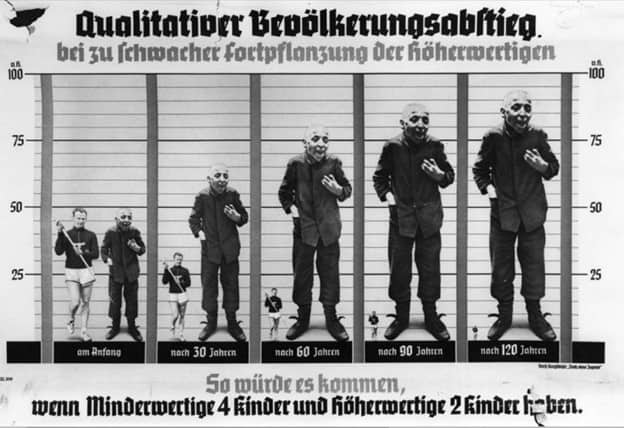 A horrible poster in German warning about the dangers of letting the